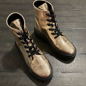 NWOT SCHUTZ Gold Maylova Boot, Size 8